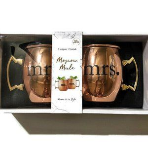 Moscow Mule Mr. and Mrs. Copper Finish Mugs Set